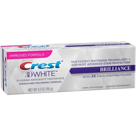 Crest 3D Oral White Brilliance Vibrant Peppermint Whitening Toothpaste, 4.1 oz