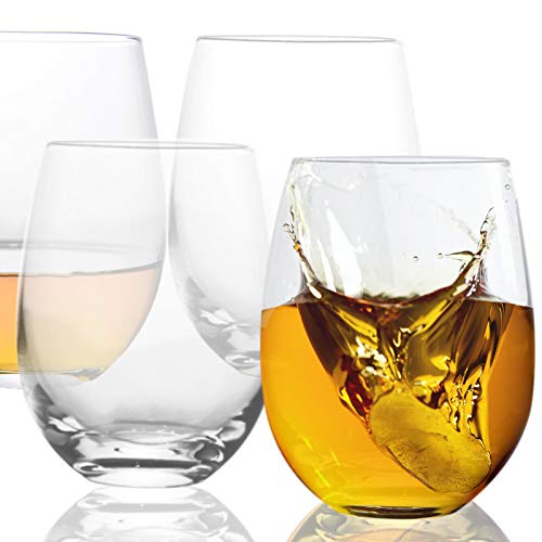 Crystal Stemless Wine Glasses Set Large 22.3 Ounce Wine Cocktail Water Tumbler Lead Free Drinking Glassware