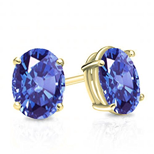 Dazzlingrock Collection 14K 6x4 mm Oval Cut Tanzanite Ladies Solitaire Stud Earrings 1 CT, Yellow Gold