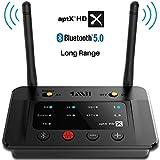 1Mii Long Range Bluetooth 5.0 Transmitter Receiver Bluetooth Audio Adapter Bluetooth Transmitter for TV PC Home Stereo, aptX HD & Low Latency, Optical RCA AUX 3.5mm