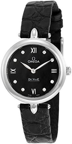 Omega de Ville Prestige Negro Dial de Diamante Correa de Cuero Reloj de Pulsera para Mujer 424.13.27.60.51.001