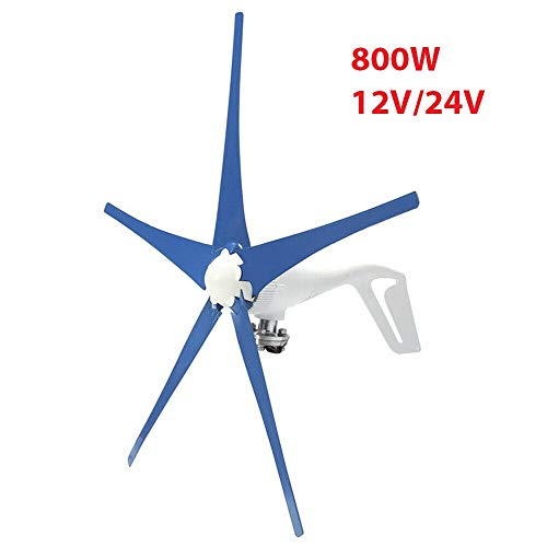 YiiYYaa 800W 5 Blades DC12/24V Horizontal Wind Turbine Generator Wind Turbines Energy Generator with Wind Charger Controller (Without Bracket) (24V) (Best Generator For Wind Turbine)