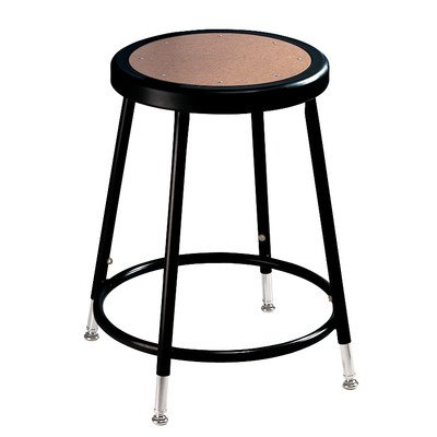 NPS 6218H-10 18'' Adjustable Height Steel Stool, Black