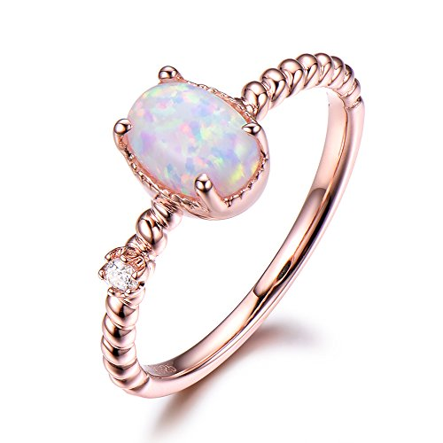 Opal Engagement Ring 5x7mm Oval Cut 925 Sterling Silver Rose Gold Plated CZ Cubic Zirconia Diamond Ring by Milejewel Opal Engagement Ring