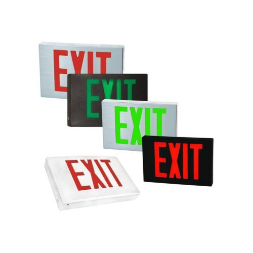 (Morris Products 73381 Cast Aluminum LED Exit Sign Face Plate, Red Letter Color, Black Face Color, Used with Model 73344 (2))