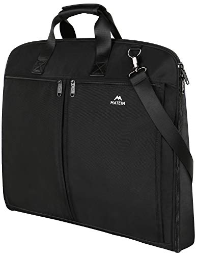 Travel Garment Bag, Matein Carry On Garment Bags for Men Women, Large 2 in 1 Luggage Suit Bags for Business Trip, Slim Hanging Suitcase for Dress, Suits, Black