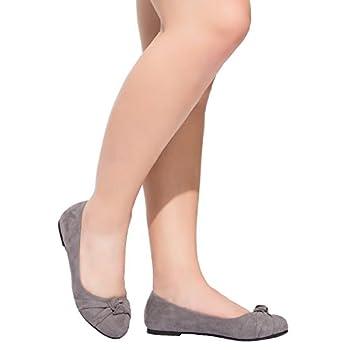 Women's Wide Width Flat Shoes - Comfortable Slip On Round Toe Ballet Flats. (Mc Grey 180303,8.5ww) 6