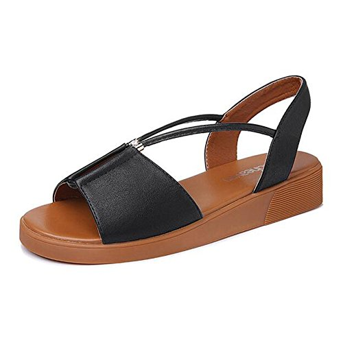 Sandals Feifei Women's Shoes Summer PU Material Simple Comfortable White Black Optional (Waterproof Table: 1.5CM, with High: 3.5CM) Black