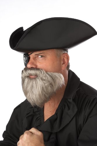 California Costumes The Captain Beard And Moustache, Grey, One Size Costume (Pirate Captain Beard)