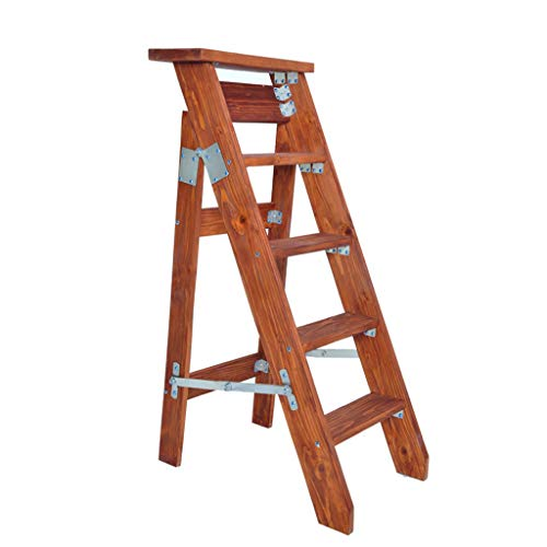 Yxsd 5 Steps Folding Unilateral Ladder Herringbone Folding Single Straight Solid Wood Loft Ascend Ladder Stool Flower Stand (Color : A)