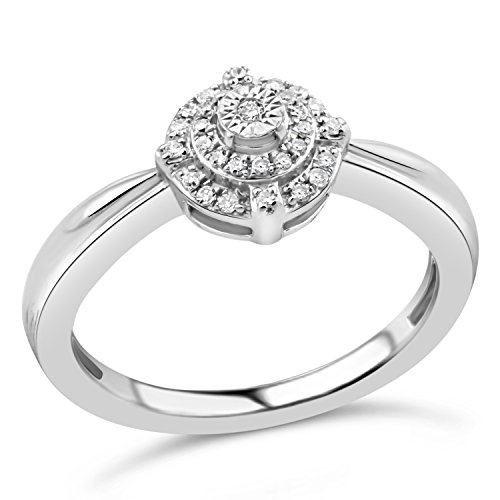 Diamond Promise Ring in Sterling Silver 1/10 cttw-Size 7