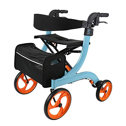 - Dudolala Foldable Roller Walker with Seat, Adjustable Backrest and 10-Inch Wheels, Elderly Shopping cart Folding Portable Trolley Scooter Walker Blue