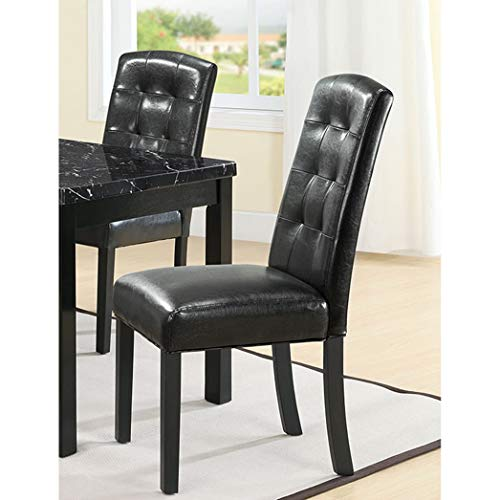 BSD National Supplies Charleston Black Tufted Parson Dining Chair Set of 2