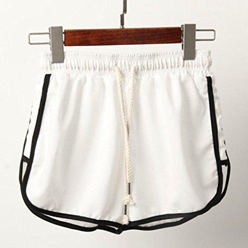 Elegante Caldo Bianco Pantaloncini Shorts VICGREY Sportswear Vacanze Estate Moda Coulisse Donna Beach Shorts Cotone Sport Leisure Pantaloni Ampio C1tPqx
