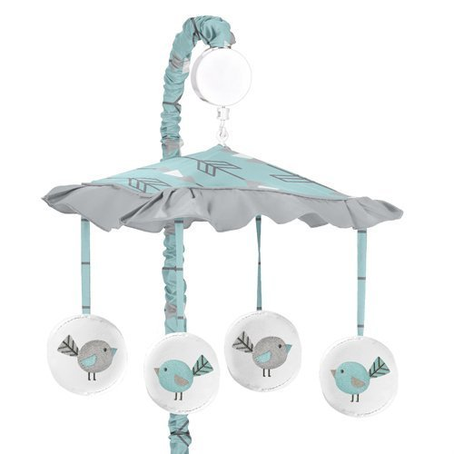 Sweet Jojo Designs Turquoise Blue and Gray Earth and Sky Nature Birds Musical Baby Crib Mobile