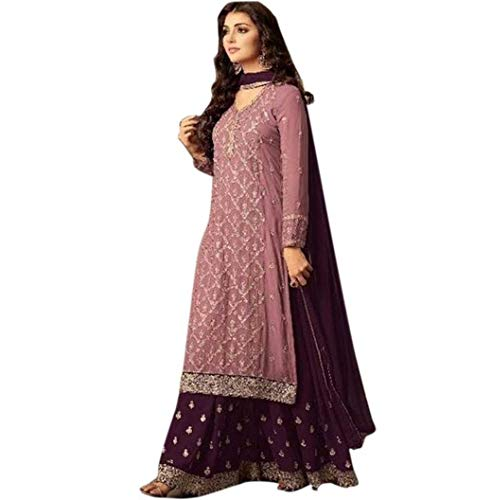 EVERLEE Women's Georgette Embroidered Dress Material Palazzo with Dupatta