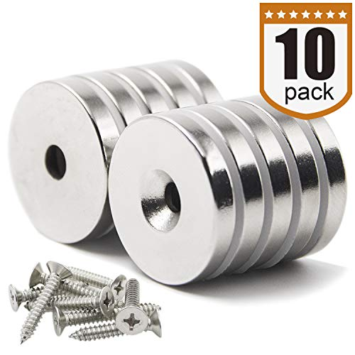 "DIYMAG 10 Pack 1.26""D x 0.2""H Neodymium Disc Countersunk Hole Magnets. Strong, Permanent, Rare Earth Magnets,with 10 Screws. by DIYMAG"