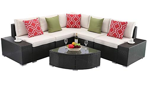 Do4U Patio Sofa 6-Piece Set Outdoor Furniture Sectional All-Weather Wicker Rattan Sofa Beige Seat & Back Cushions, Garden Lawn Pool Backyard Outdoor Sofa Wicker Conversation Set - 6 Piece Sofa