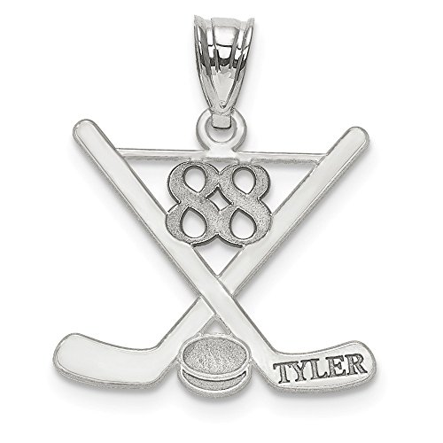 (Personalized Laser Polished Custom Name And Number Hockey Pendant Made in Sterling Silver from Roy Rose Jewelry)