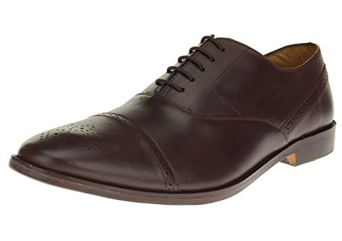 - Mens Full Leather Cap-Toe Oxford Lace-up Dress Shoe SL302 (45.5 M EU/12.5 D(M) US,Dark Brown)