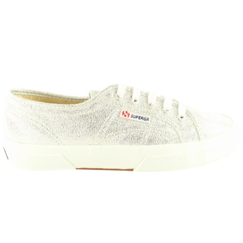 Womens Superga Lame Lace Up Glitter Plimsoll Canvas Sneakers New Silver gOyWxx5Fr