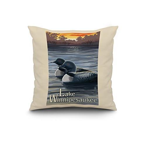 Wholesale Lake Winnipesaukee, New Hampshire - Loons (20x20 Spun Polyester Pillow, White Border) 06IvwL6s