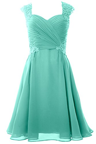 Gown Sleeve Women Party MACloth Turquoise Wedding Dress Cap Formal Cocktail Short 2017 fvEwSqE