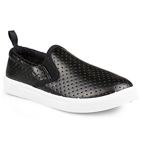 Chillipop [SBK401-BLK-T8] Slip-On Sneakers for Girls, Boys & Toddlers, Perforated Design, Black