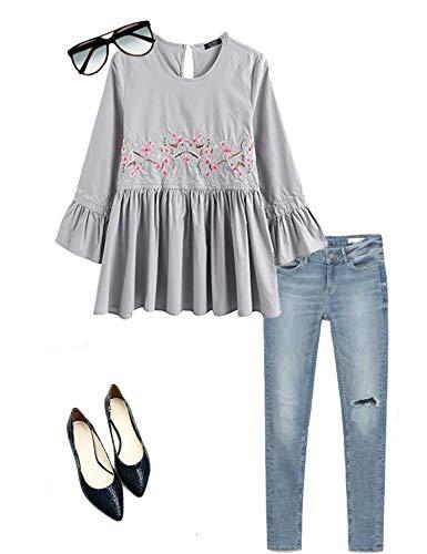 SoTeer Women's Loose Ruffle Hem Peplum Empire Waist Long Sleeve Blouse Shirts Grey Medium