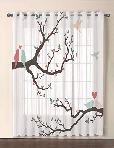 One Panel Extra Wide Sheer Voile Patio Door Curtain,Love Decor,Retro Love Birds on the Tree Branch Serenade Nostalgic Partners Ceremony Decorative,Green Pink Brown,for Sliding Doors(108