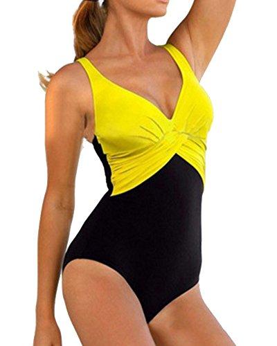 YipGrace la mujer cuello en V Plisado Talla extra Una pieza de ropa de playa doble color Traje de baño para las mujeres bañador de Amarillo