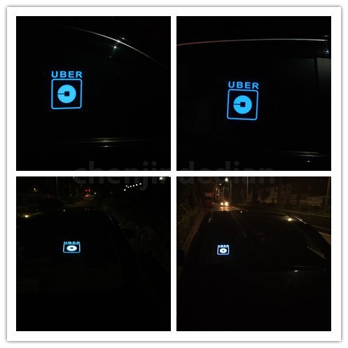 Uber Sign LED Light Sign Logo Sticker Decal Glow Wireless Decal Accessories Removable Uber Lyft Glowing Sign for Car Taxi Uber Lyft Light up Dry Battery Power by Invert Earth (Image #2)