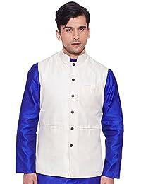 KOKOM Men Sleeve Less Designer Faux Silk Nehru Jacket Casual Wear Plain Waistcoat
