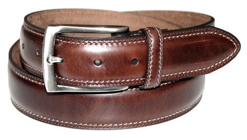 Tapered Leather Work Belt - Dockers Men's 1 3/8 in. Feather-Edge Belt ,Brown,46
