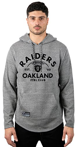 Raiders Oakland Pullover - Icer Brands NFL Oakland Raiders Men's Fleece Hoodie Pullover Sweatshirt Vintage Logo, Large, Gray