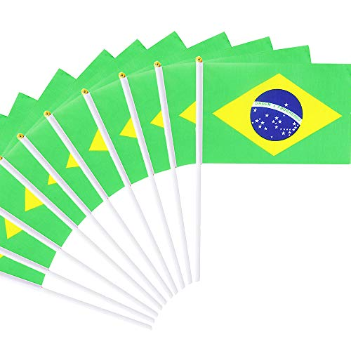 Lokinly 30 Pack Brazil Stick Flag, 5.5x8 Small Mini Hand Held Brazilian Flags on Sticks with 11.8