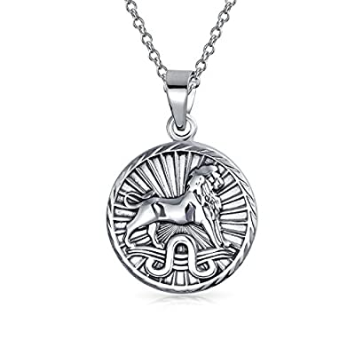 hot sell Bling Jewelry Large Leo Zodiac Medallion Pendant Sterling Silver Necklace 18 Inches for sale