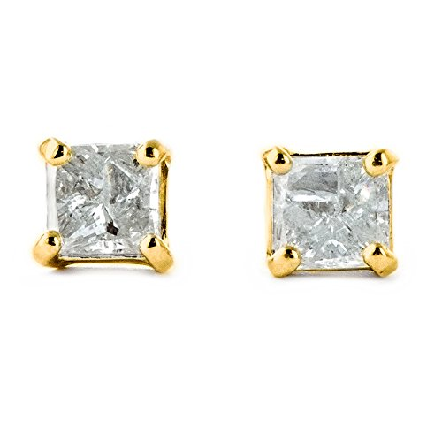 Galaxy Gold 14k Solid Yellow Gold 1 CTW Genuine Diamond Stud Earrings
