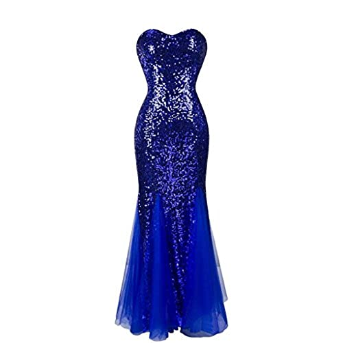 DLFASHION Womens Sweetheart Mermaid Sequined Long Prom Dress Size 8 Royal Blue