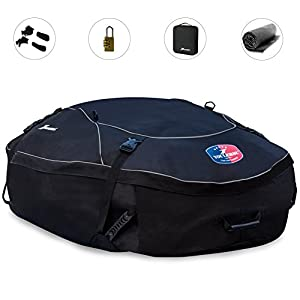 Youlerbu Cargo Bag,Soft Car Top Carrier with Free Roof Mat and Lock, Perfect for Vehicle Van SUV without Racks or with Raised Side Rails-18 Cubic Feet
