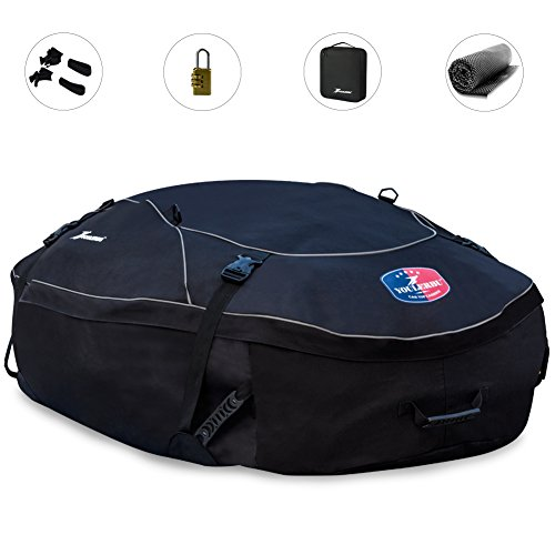 Youlerbu Waterproof Roof Cargo Bag,Soft Car Top Luggage Carrier Storage Bag with Free Roof Mat and Lock, Perfect for Vehicle Van SUV without Racks or with Raised Side Rails-16 Cubic Feet by Youlerbu