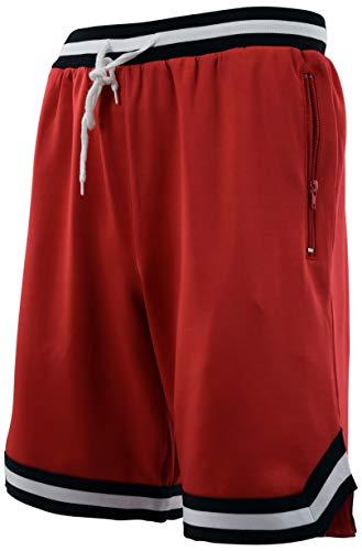 Mens Vintage Retro Design Basketball Shorts (M, 50-Red)
