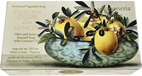 Saponificio Artigianale Fiorentino La Saponeria Firenze Tuscan Olive Lemon All Natural Vegetable Soap 10.5 Ounce Bar Made in Italy
