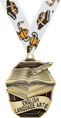 ACADEMIC Medals - 2'' Gold English Language Arts Medals 100 Pack
