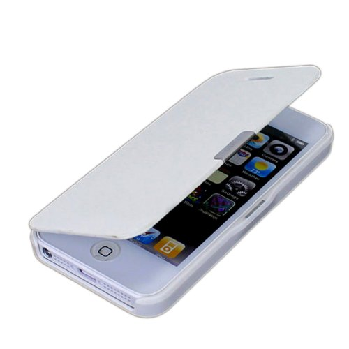 Magnetic Flip Synthetic Leather Hard Skin Pouch Wallet Case Cover For Apple iPhone 5 5S 5G White