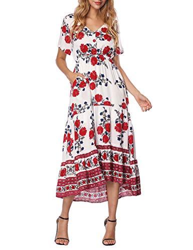03c0fedcc2 CINDYLOVER Women s Dresses Short Sleeve Floral Print Boho Casual Summer  Dress White L