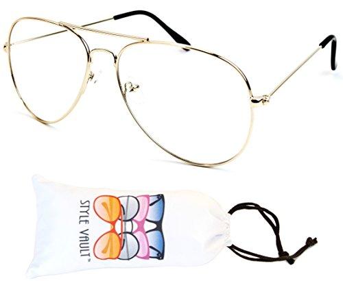 [A3045-vp Metal Aviator Clear Lens Eyeglasses (B2019F Gold-Clear)] (80s Metal Costumes)