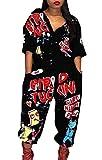 ainr Women's Jogging Letter Print Hip Hop Button up Short Sleeve Rompers Jumpsuit Black L