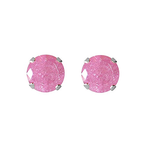 Sterling Silver 6.25-mm Pink Ice Cubic Zirconia Stud Earrings -