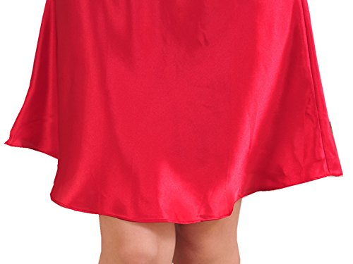Feoya Chemises de nuit Femme Satin Sexy Fines Bretelles Pyjamas robe - Rouge